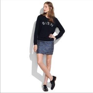 Madewell Blue Metallic Tweed Courtyard Skirt